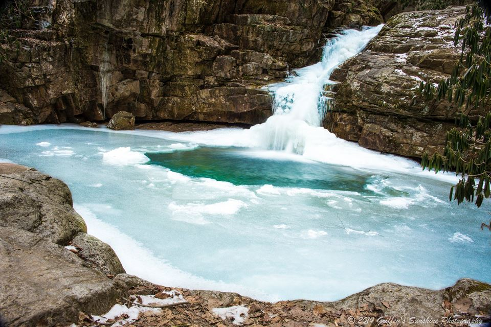 frozen waterfall photo of blue hole falls