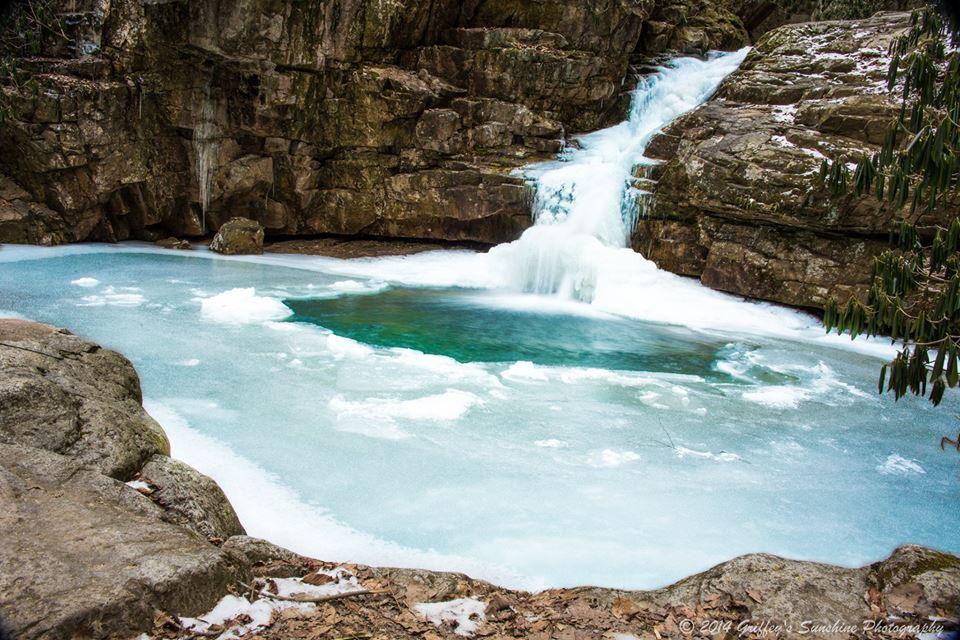 frozen waterfall photo of blue hole falls