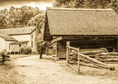barn art print black and white photo of old rustic barn with old farmer