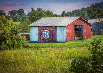 barn prints red barn with tn state flag painted on side