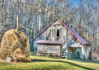 barn prints small leaning barn with haystack