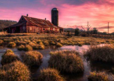 barn art photo print red barn quiet stream