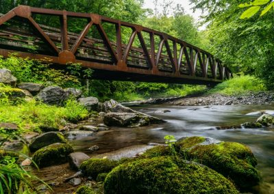 rustic metal bridge over quiet forest stream for ijams nature center photo exhibit