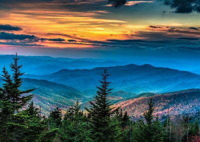 landscape art print 2 smoky mountains at sunset