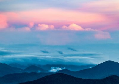 landscape art print blue and pink sky over mountains