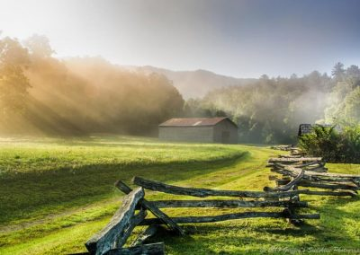 landscape art print of cades cove