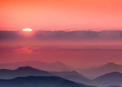 landscape art print pink sunrise over mountain peaks