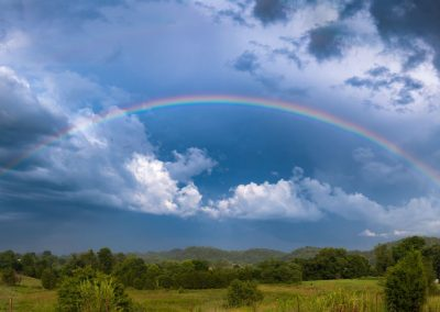 landscape art print rainbow sky