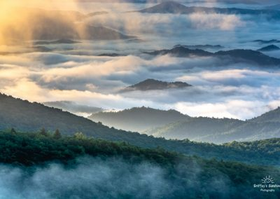 landscape art print smoky mountain peaks rising through fog