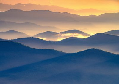 landscape art print smoky mountains at sunset