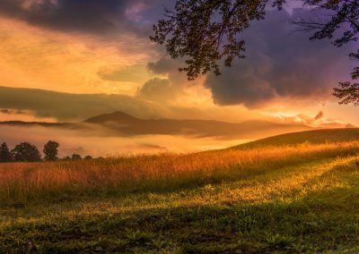 landscape photo print rolling hillsides with appalachian mountain background at sunrise