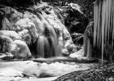 water wall art black and white image of frozen waterfalls