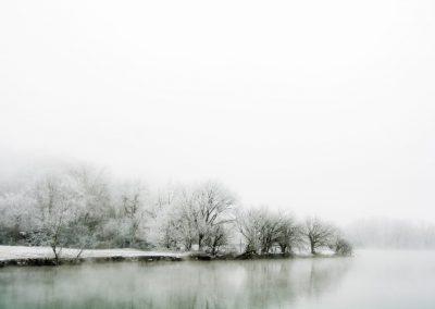 winter wall art scene of frozen trees beside foggy water